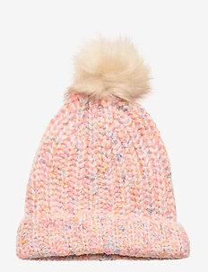 Kids Knit Pom Hat - hatut - bright pink neon