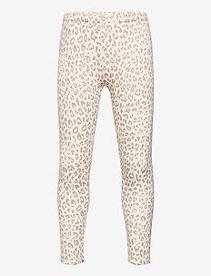 Kids Cozy Fleece Lined Leggings - leggings - snow leopard