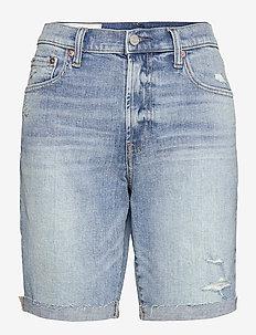 9'' High Rise Destructed Denim Bermuda Shorts With Washwell - denimshorts - medium indigo 8