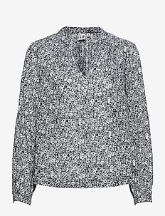 Shirred Popover Top - long sleeved blouses - navy floral