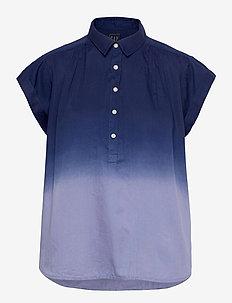 Pleated Popover Top - kortærmede skjorter - blue dip dye