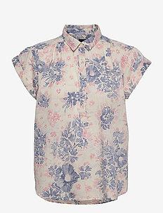 Pleated Popover Top - kortærmede skjorter - multi floral