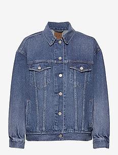Oversized Denim Jacket With Washwell™ - denimjakker - medium indigo