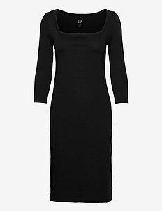 Modern Squareneck Dress - hverdagskjoler - true black