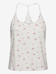 100% Organic Cotton Racerback Cami - t-shirt & tops - grey floral