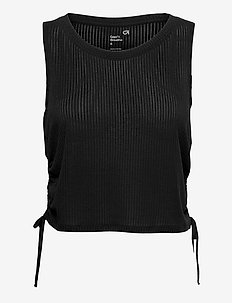 GapFit Breathe Pointelle Ruched Side Tank Top - crop topit - true black