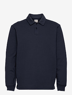 French Terry Polo Shirt - langärmelig - new classic navy