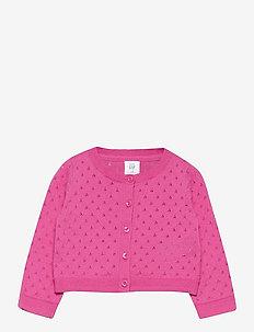 Toddler Pointelle Cardigan - gilets - neon pink rose