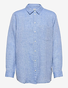 Linen Boyfriend Shirt - langærmede skjorter - light blue