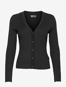 Ribbed Cardigan - swetry rozpinane - true black v2 2