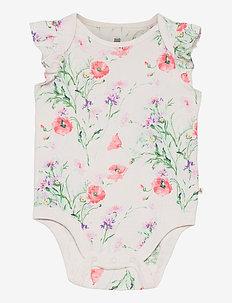 Baby 100% Organic Cotton Mix and Match Print Bodysuit - kurzärmelige - new off white floral