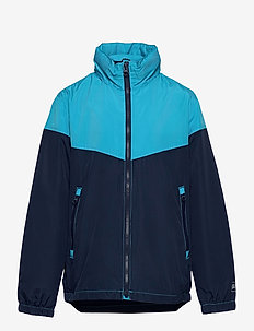 Kids 100% Recycled Polyester Colorblock Windbuster - windbreaker - cyan blue 579