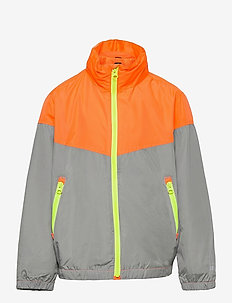 Kids 100% Recycled Polyester Colorblock Windbuster - windbreaker - neon orange bolt