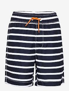 Kids 100% Recycled Polyester Stripe Swim Trunks - swimshorts - navy stripe