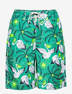Kids 100% Recycled Polyester Pelican Board Shorts - swimshorts - 3 - green print