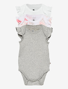 Baby Ruffle Bodysuit (3-Pack) - kurzärmelige - optic white