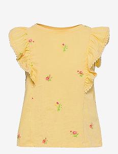 Kids Ruffle Tank Top - short-sleeved - havana yellow
