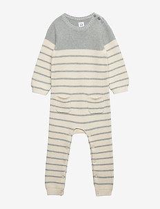 Baby Brannan Stripe One-Piece - long-sleeved - h. grey b08-7062