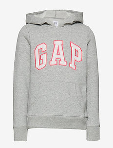 Kids Gap Logo Hoodie Sweatshirt - HEATHER GREY