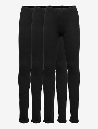 Kids Leggings in Stretch Jersey (3-Pack) - leggings - true black