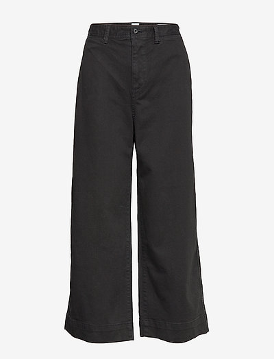 High Rise Wide-Leg Crop Khakis - bukser med brede ben - true black v2