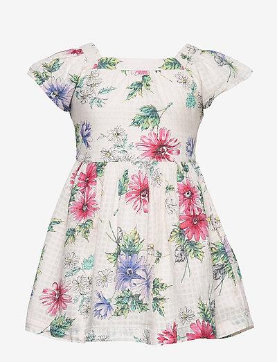 Kids Floral Squareneck Dress - kjoler - icy pink