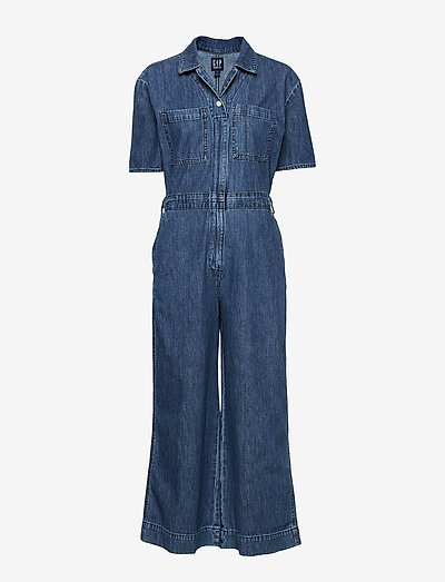 Gap Utility Tie-belt Jumpsuit- Jumpsuits Medium Indigo