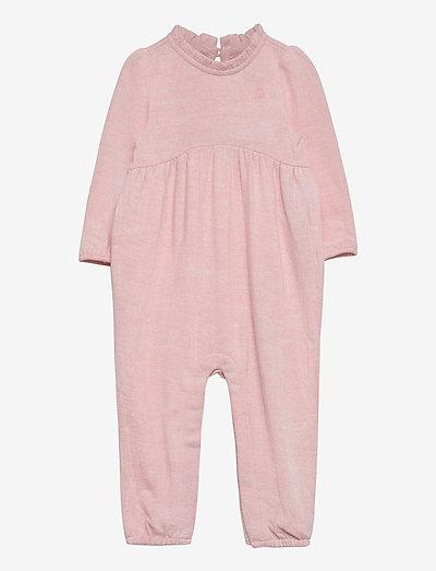 Baby Knit Ruffle One-Piece - langærmede - pink heather