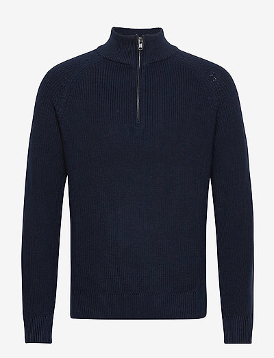 Mockneck Shaker Sweater - truien met halve rits - new classic navy