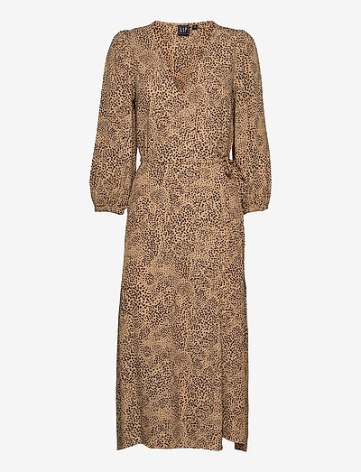 Lenzing™ Ecovero™ Flounce Midi Wrap Dress - summer dresses - leopard print