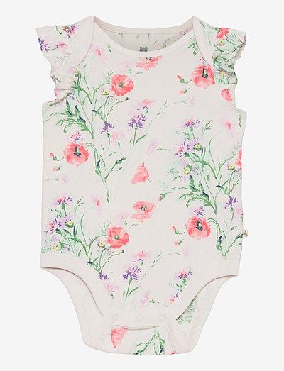 Baby 100% Organic Cotton Mix and Match Print Bodysuit - kortærmede - new off white floral