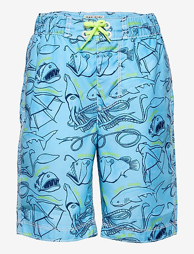 Kids 100% Recycled Polyester Sea Creature Board Shorts - badebukser - belle blue 1969