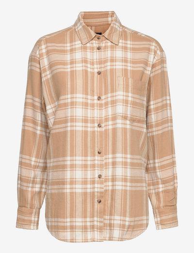 LS FLANNEL OS SHIRT - långärmade skjortor - camel plaid