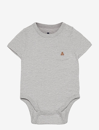 Baby 100% Organic Cotton Mix and Match Bodysuit - kortærmede - light heather grey b08