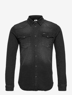 H11289_men`s shirt ls - basic overhemden - dark used