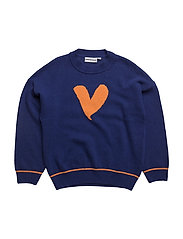 THE KNITTED JUMPER JUMBO LOVE HEART - BLUE