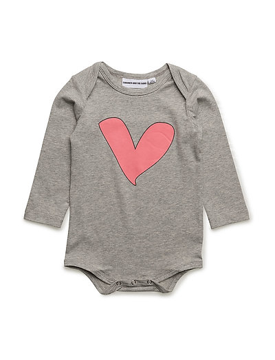 THE LONG SLEEVED ROMPER CHEST HEART - GREY