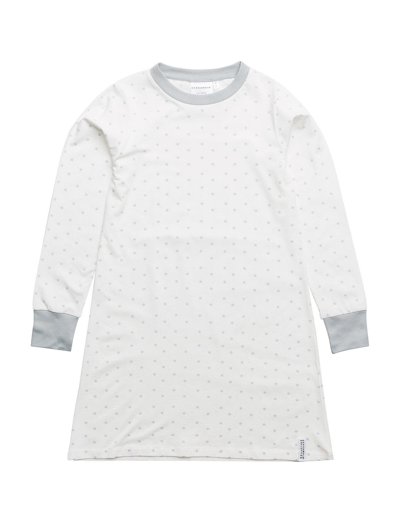Geggamoja Bamboo nightgown Grey star - WHITE