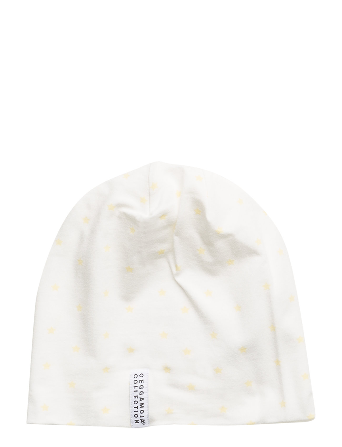 Geggamoja Bamboo cap Yellow star - WHITE