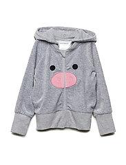 Pig Hoodie - GREY MEL