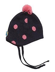 Knitted helmet - MARINE/CERISE