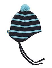 Knitted helmet - MARINE/TURQUOISE