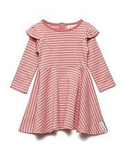 Flared dress - SOFT RED/PEACH