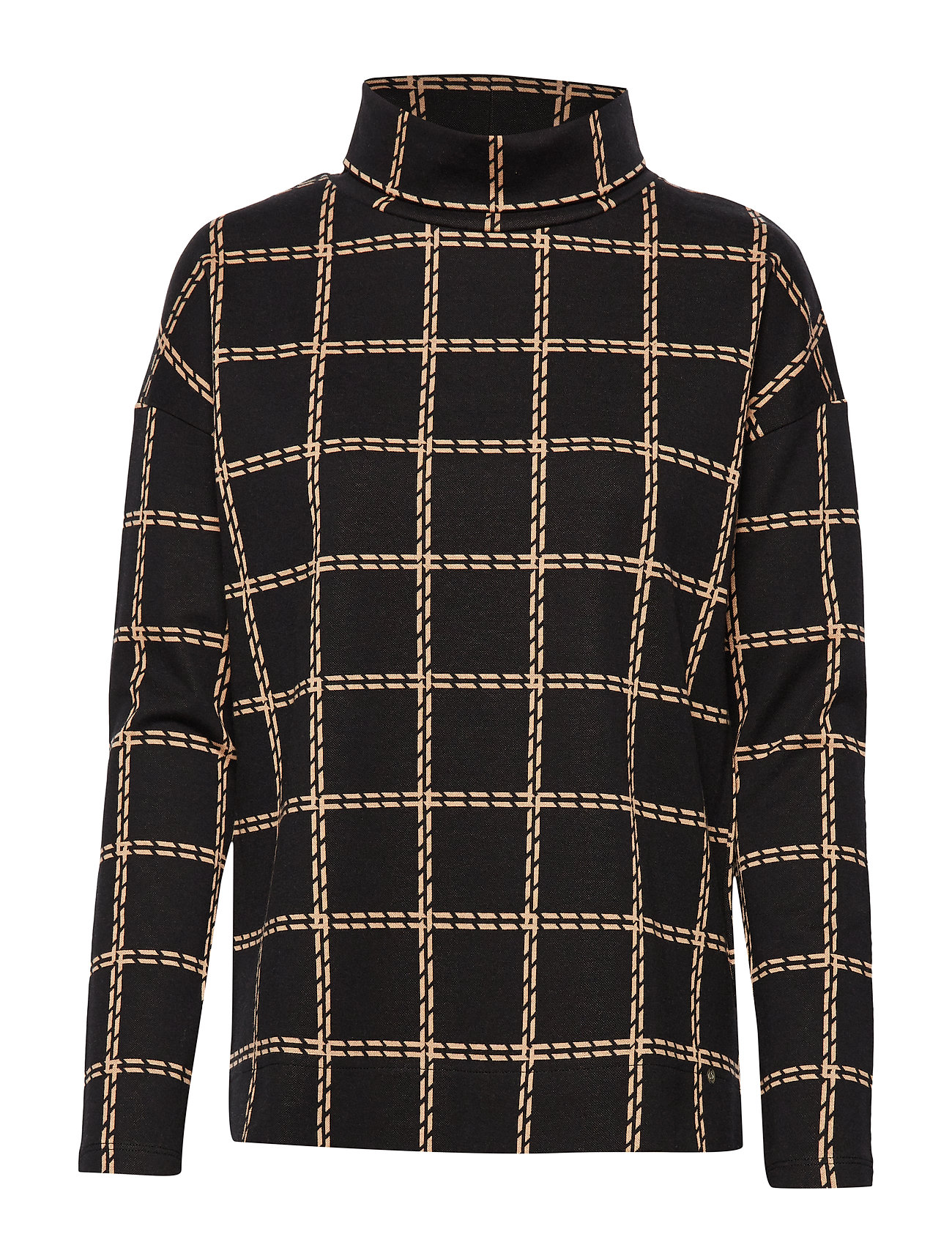 Gerry Weber Edition T-SHIRT LONG-SLEEVE - BLACK/BROWN CHECK