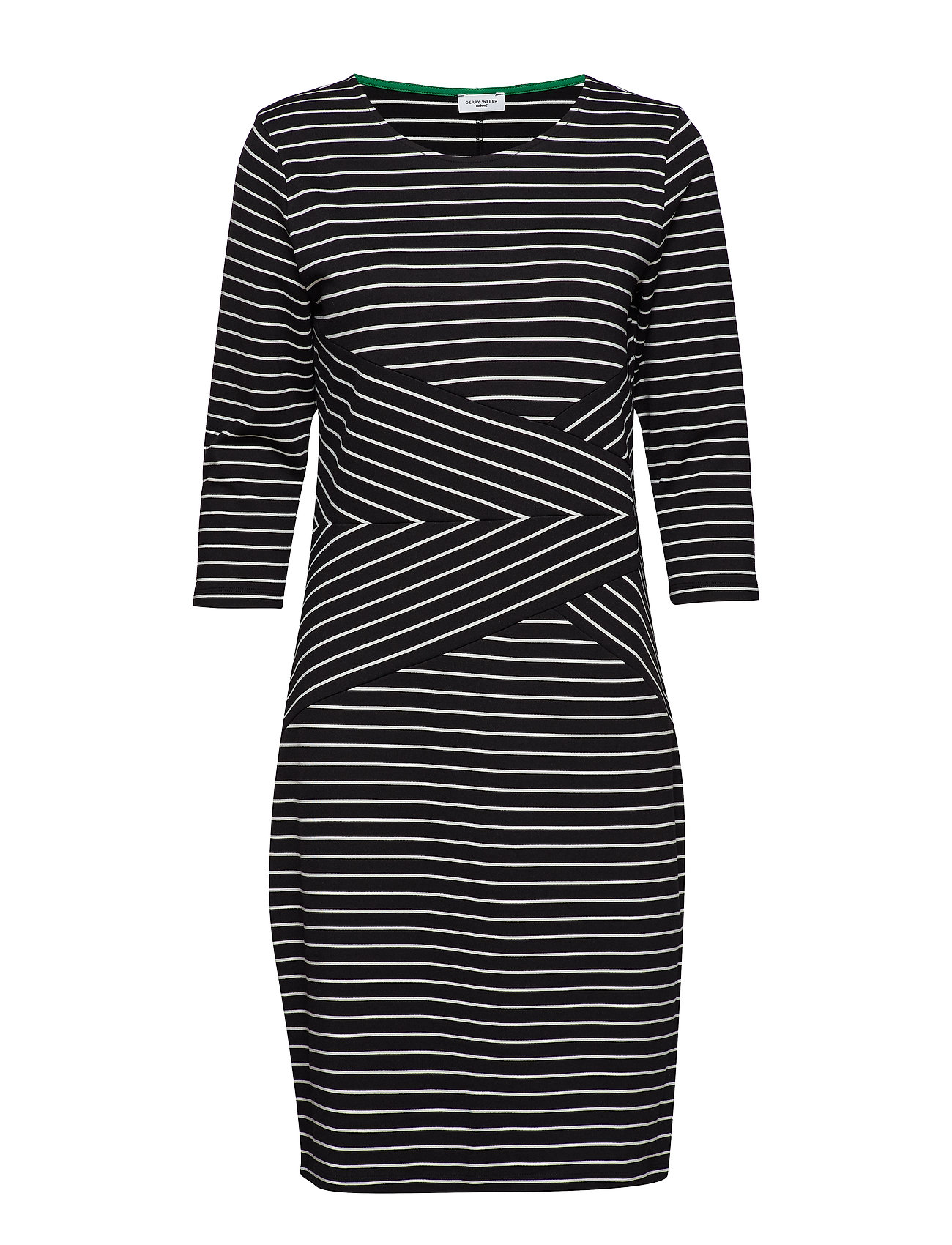 Gerry Weber Edition DRESS KNITTED FABRIC - BLACK/ECRU/WHITE HOOPS
