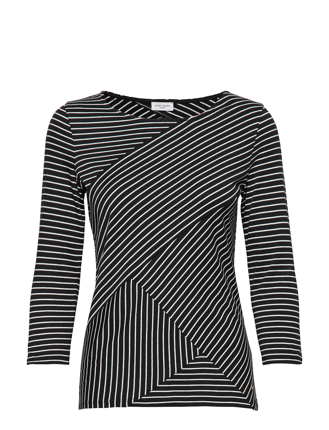 Gerry Weber Edition T-SHIRT 3/4-SLEEVE R - BLACK/ECRU/WHITE HOOPS