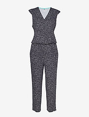 Gerry Weber Edition - TROUSERS KNITTED FAB - jumpsuits - blue/ecru/white print - 0