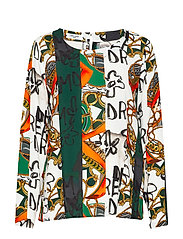 BLOUSE LONG-SLEEVE - GREEN/RED/ORANGE PRINT