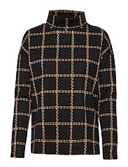 T-SHIRT LONG-SLEEVE - BLACK/BROWN CHECK