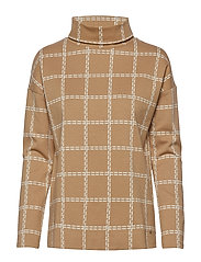 T-SHIRT LONG-SLEEVE - BROWN/ECRU/WHITE CHECK